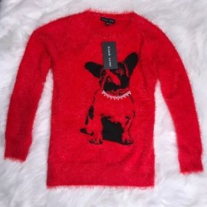 Black Rivet • Frenchie Red Fur Sweater